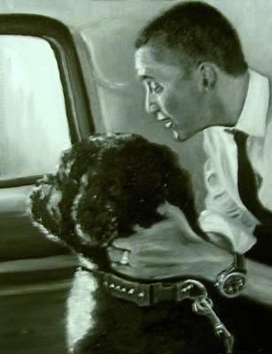 Obama And Bo Print by Martha Suhocke