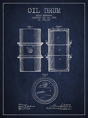 Drum Digital Art - Oil Drum Patent Drawing From 1905 by Aged Pixel