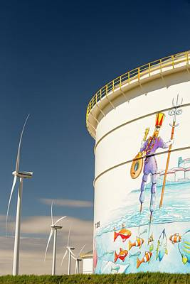 Good Energy Photograph - Oil Terminal And Wind Turbines by Ashley Cooper