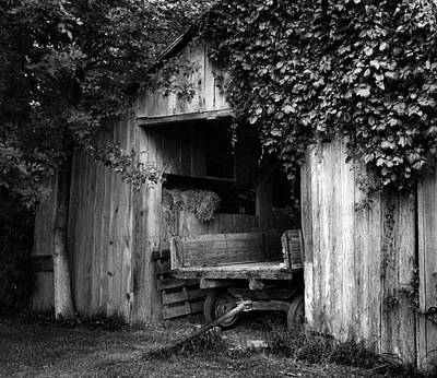 Julie Dant Black And White Photograph - Old Barn And Wagon by Julie Dant