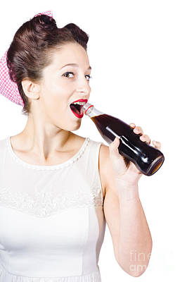 Endorsement Photograph - Old-fashion Pop Art Girl Drinking From Soda Bottle by Jorgo Photography - Wall Art Gallery