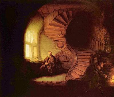 Old Man At Window Print by Rembrandt