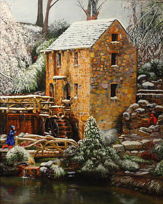 Arkansas Painting - Old Mill In Winter by Glenn Beasley