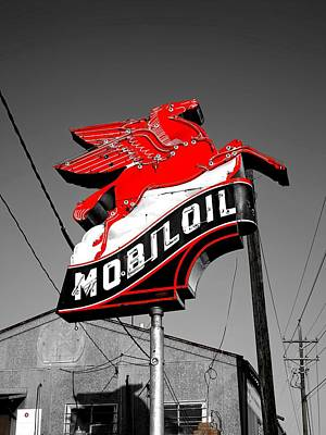 Pegasus Photograph - Old Mobil Oil Sign by Mountain Dreams