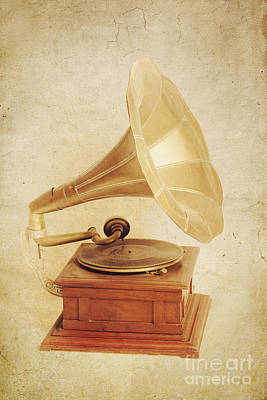 Classic Audio Player Photograph - Old Vintage Gold Gramophone Photo. Classical Sound by Jorgo Photography - Wall Art Gallery
