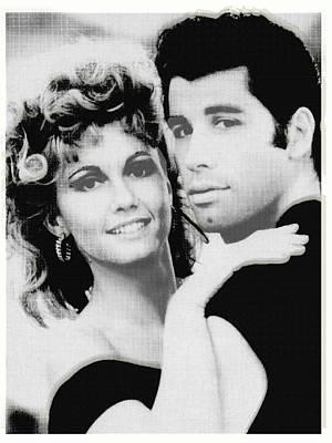 Olivia Newton John And John Travolta In Grease Collage Original by Tony Rubino