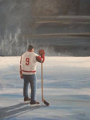 Nhl Winter Classic Painting - On Frozen Pond - Gordie by Ron  Genest