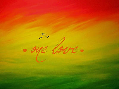 Bob Marley Abstract Painting - One Love by Cyryn Fyrcyd