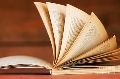Read Photograph - Open Book In Retro Style by Michal Bednarek