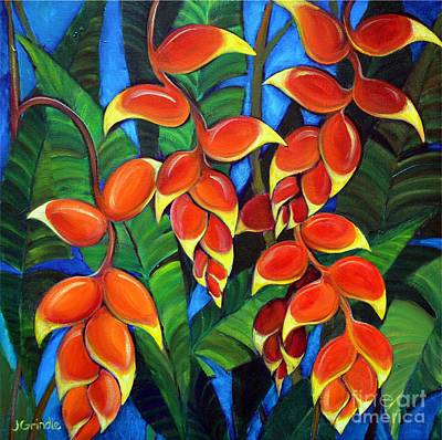 Heliconia Painting - Orange Heliconia by Jerri Grindle
