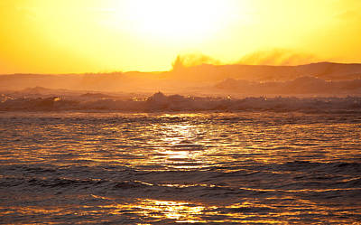 Kauai Photograph - Orange Sunset Over Na Pali by Steve Heap
