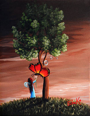 Fantasy Tree Art Painting - Original Fairy Art  by Shawna Erback