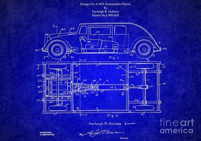 Historic Vehicle Mixed Media - Original Harleigh Holmes Automobile Patent 1932 by Doc Braham
