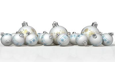 Ornate Matte White Christmas Baubles Print by Allan Swart