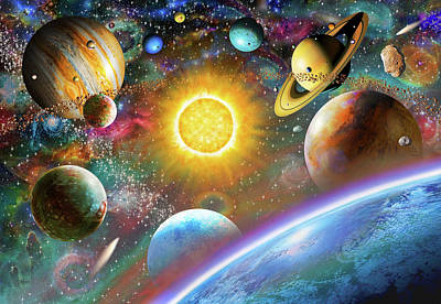 Planets Drawing - Outer Space by Adrian Chesterman
