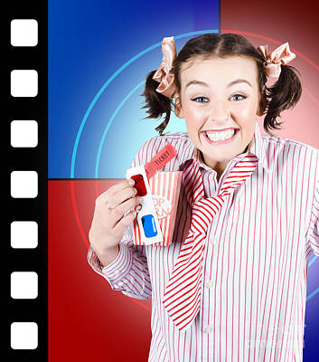 Youthful Photograph - Overjoyed Nerd Woman At 3d Movie Premier by Jorgo Photography - Wall Art Gallery