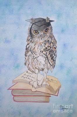 Birds Painting - Owl Attitude Painting by Lisa Straker