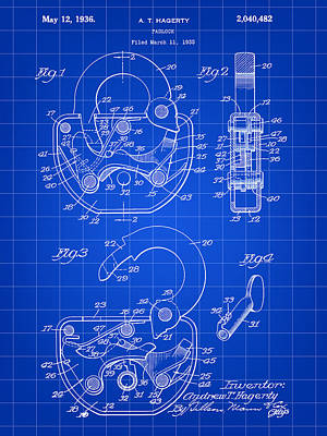 Mechanism Digital Art - Padlock Patent 1935 - Blue by Stephen Younts