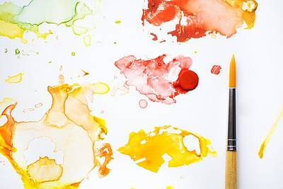 Paint Splatters And Paint Brush Print by Chris Knorr