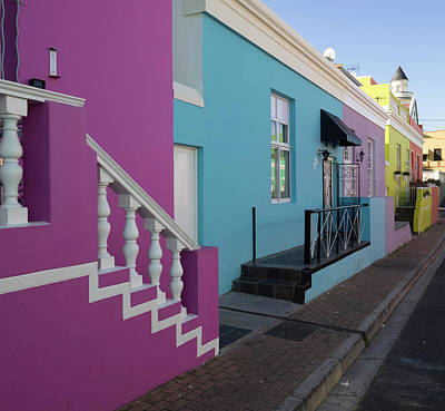 In A Row Photograph - Painted Houses In A Row, Cape Malays by Panoramic Images