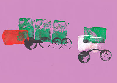 Painting Of A Truck In Childrens Style Print by Fizzy Image