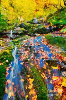 National Park Painting - Painting Of Autumn Scenery by George Atsametakis