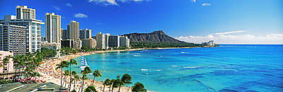 Waikiki Photograph - Palm Trees On The Beach, Diamond Head by Panoramic Images