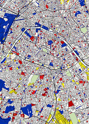 Repeating Digital Art - Paris Piet Mondrian Style City Street Map Art by Celestial Images