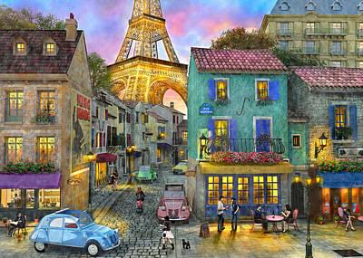 Drawing - Paris Streets by Dominic Davison
