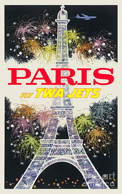 Eiffel Tower Drawing - Paris Vintage Travel Poster by Jon Neidert