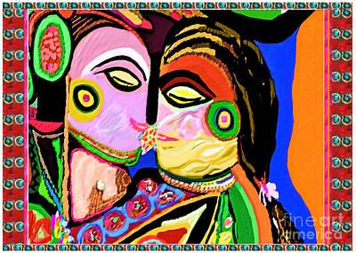 Champion Mixed Media - Passionate Kiss Kamasutra Khajuraho India Cave Style Art Navinjoshi Rights Managed Images Graphic De by Navin Joshi
