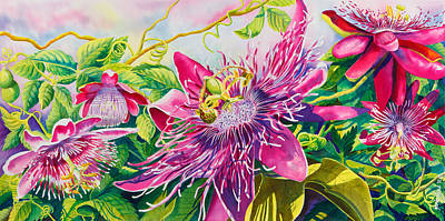 Passionflower Party Print by Janis Grau