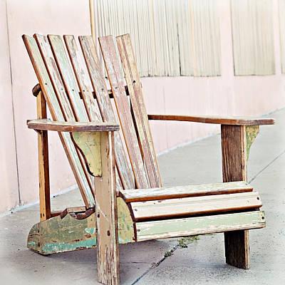 Empty Chairs Photograph - Pastel Adirondack Chair by Angela Bonilla