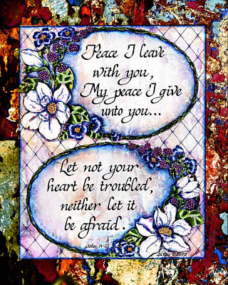 Peace I Leave With You Print by La Rae  Roberts