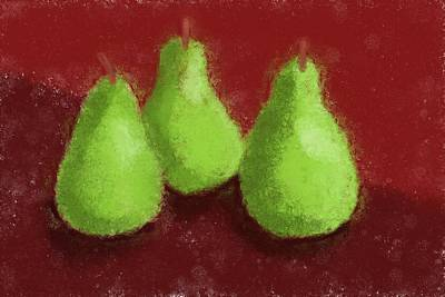 Meal Painting - Pear Trio by Heidi Smith