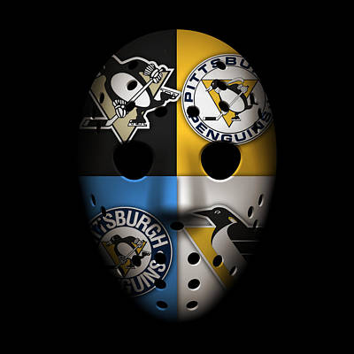Penguins Goalie Mask Print by Joe Hamilton