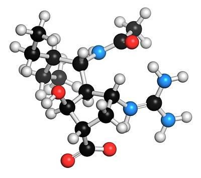 Peramivir Influenza Drug Molecule Print by Molekuul
