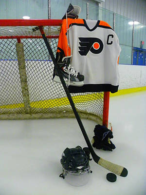 Philadelphia Flyers Away Hockey Jersey Print by Lisa Wooten
