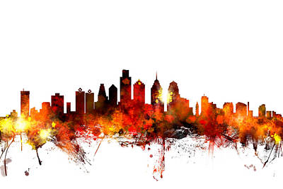Pennsylvania Digital Art - Philadelphia Pennsylvania Skyline by Michael Tompsett