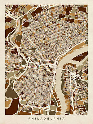 Pennsylvania Digital Art - Philadelphia Pennsylvania Street Map by Michael Tompsett