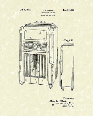 Player Drawing - Phonograph Cabinet 1938 Patent Art by Prior Art Design