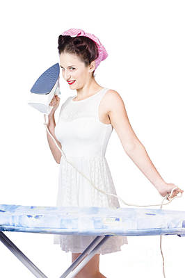 Pin Up Woman Providing Steam Clean Ironing Service Print by Jorgo Photography - Wall Art Gallery