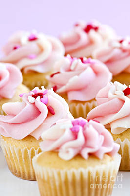 Desserts Photograph - Pink Cupcakes by Elena Elisseeva