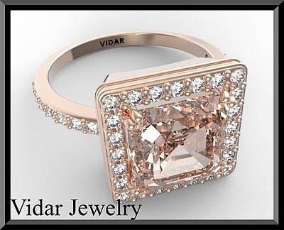 Vidar Jewelry Jewelry - Pink Morganite And Diamond 14k Rose Gold Engagement Ring by Roi Avidar