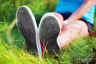 Sports Photograph - Pink Sneakers On Girl Legs On Grass by Michal Bednarek