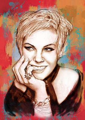 American Singer Mixed Media - Pink - Stylised Drawing Art Poster by Kim Wang
