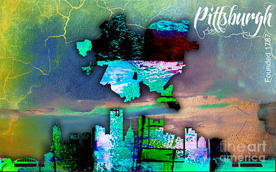 Pittsburgh Map And Skyline Watercolor Print by Marvin Blaine