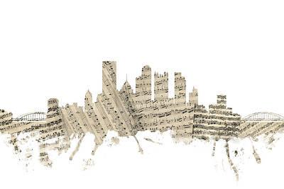 Pittsburgh Skyline Digital Art - Pittsburgh Pennsylvania Skyline Sheet Music Cityscape by Michael Tompsett