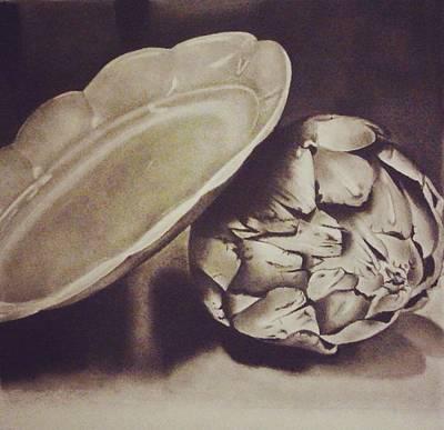 Artichoke Drawing - Plate And Artichoke  by Estefani Gonzalez