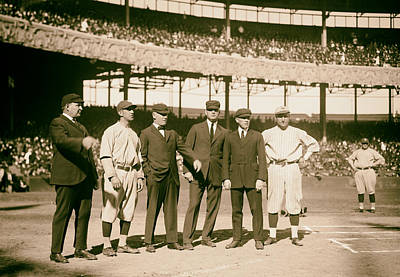 Yankee Stadium Bleachers Photograph - Players And Umps - 1921 World Series by Mountain Dreams